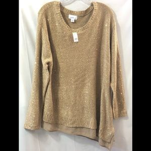 Gold sparkly Sweater with sheer angled hem NWT